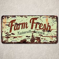 LP0099 Farm Fresh Natural Auto License Plate Rust Vintage Home Store Decor Sign