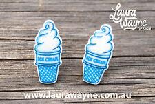 Soft Serve Ice Cream Stud Earrings - Handmade I Love Earring Studs Funky Quirky