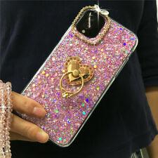 For iPhone 11 Pro Max Bling Glitter Crystal Neck Lanyard Ring Stand Case Cover