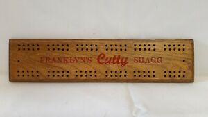 Vintage Advertising Traditional Wooden Cribbage Board Scoreboard Cards - No Pegs