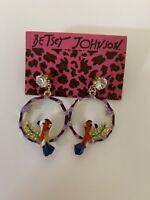 Betsey Johnson Fashion Alloy rhinestone enamel bird Drop earrings-BJ80119