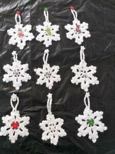 NEW HANDCRAFTED CROCHET SPARKLE SNOWFLAKE CHRISTMAS TREE HANGING ORNAMENTS