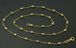 14k Yellow Solid Gold Ball Bead diamond cut Station Necklace 2.5m 16'' 18'' 20''