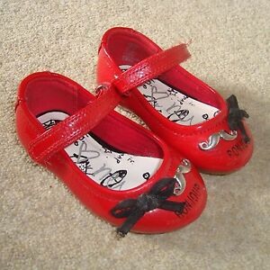 Baby Girl's Pretty NEXT Red Shoes Size 3 UK Infant Bonjour Paris French France