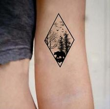 Waterproof Temporary Fake Tattoo Stickers Geometric Black Forest Bear Tree
