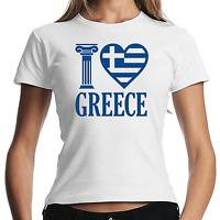 I love Greece Griechenland Greece Greek Hellas Women Lady Damen Girlie T-Shirt