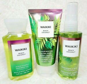 Bath & Body Works WAIKIKI BEACH COCONUT 3pc NEW Travel Size Set Mist Cream Gel