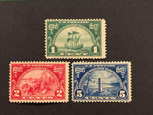 Travelstamps: 1924 US Stamps Scott #614-616, mint, OG NH, Huguenot-Walloon Issue