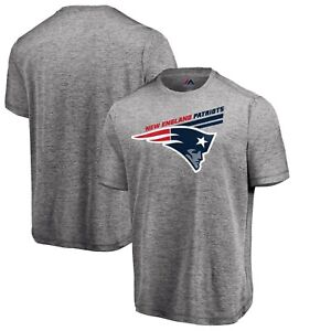 New England Patriots Majestic Showtime Pro Grade T-Shirt Heathered Gray Size Lrg