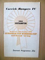 1976 ECWC 2nd RD, 1st Leg Souvenir Programme.- CARRICK RANGERS v SOUTHAMPTON