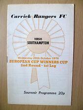 1976 ECWC 2nd RD, 1st Gamba Souvenir PROGRAMME. - Carrick Rangers V Southampton