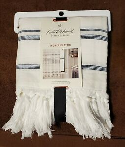 Hearth & Hand Magnolia- Stitched Stripped Shower Curtain Sour Cream/Faded Blue