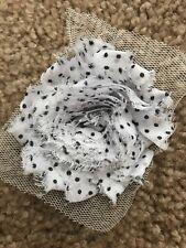 14 Pcs Polka Dot White And Black Shabby Chic 2.5 Flowers (1yard)