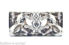 ALEXANDER McQUEEN KALEIDOSCOPE CRYSTAL PRINT SATIN AND LEATHER CLUTCH BAG BNWT
