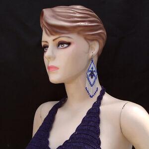 NEW IRIS BLUE WHITE BROWN BEADED TURTLE FASHION HOOK EARRINGS E26/3