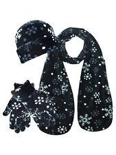 BLACK & WHITE SNOWFLAKE HAT SCARF & GLOVES SET