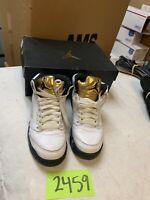 "Nike Boys Air Jordan 5 Retro BG ""Olympic Gold"" White/Black-Gold 440888-133 6.5Y"