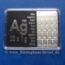 Silberbarren 20x 1g Valcambi 999 Silbertafel Combibar 20 x 1 g Silber 20g