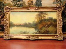 Original 19th Century Oil on Wood Panel Signed H. Wilson Ornate Gesso Frame NICE