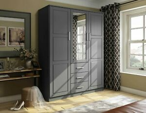 Cosmo 3-Door Wardrobe/Armoire/Closet with Mirror and 3 Drawers by Palace Imports