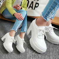 Retro Women's Round Toe Platform Chunky High Heels Casual Shoes Lace up Size 8