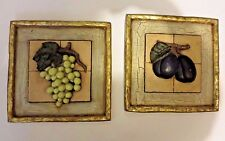 "Set of 4 Three Dimensional WALL ART -  Fruit Theme - 9"" Square - 3.9 Lbs Each"