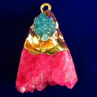 Wrapped Peach Titanium Crystal Agate Druzy Quartz Geode Pendant Bead SD2019625