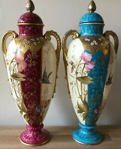 Lovely Pair Royal Bonn Art Nouveau Vases Birds & Floral Design