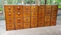 Antique Wood File Cabinet Set Library Bureau Sole Makers 7 units 4 Drawers Each
