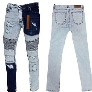 Mens Peviani skinny bleached jeans, slim fit tone denim stretch biker distressed