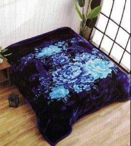 Heavy Korean Blanket Mink 10 Lbs Queen & King Size Thick Warm Plush Soft Blue
