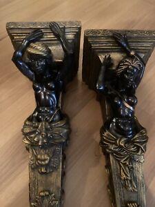 Pair of Blackamoor Console Statue Brackets Shelves Sconces Black & Gold Nubian