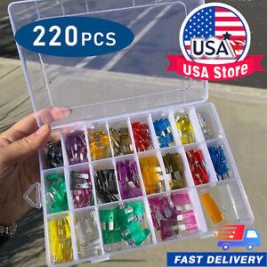 220 Pcs Car Blade Fuse Assortment Assorted Kit Blade Set Auto Truck Automotive