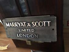 "Vintage Original Art Deco Cast Bronze Machine Plate ""Marryat & Scott"""