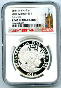 2018 GREAT BRITAIN 1OZ SILVER PROOF BRITANNIA NGC PF69 UCAM SPIRIT OF A NATION