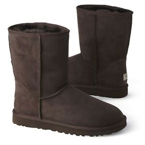 UGG CLASSIC GIRLS LADIES GREY CHOCOLATE FUR LINED KIDS CHILDRENS CASUAL BOOT