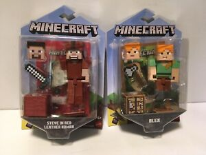 "MInecraft Figure Lot Steve in Red Leather Armor & Alex Comic Maker 3.25"""