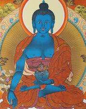 "16"" NATURAL MINERAL COLOR SILKPRINT TIBETAN THANGKA: CLASSIC MEDICINE BUDDHA ="