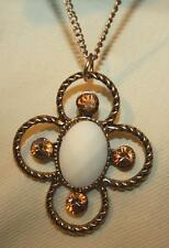 Handsome Goldtone  Openwork Roped White Center Amber Rhinestone Pendant Necklace