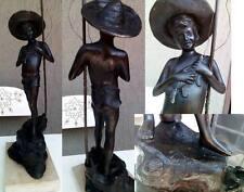 scultura in bronzo  il pescatore firmata
