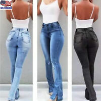 Womens Denim Jeans Bell Bottom Flare Pants Casual High Waist Wide Leg Trousers