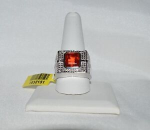 12.4 GRAMS 5.55ct GENUINE SUNFIRE QUARTZ & GENIUNE. DIAMOND MEN`S COCKTAIL  RING
