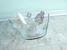 """Vintage Georges Briard Mid-Century Modern Glass Bowl Gold Doves 9.5"""""""