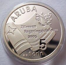 Aruba 5 Florin 2005 Silver Coin Proof Queen's Silver Jubilee - Flag
