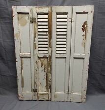 Antique Bi-fold Window Wood Louvered Paneled Shutters 33x13 Interior Vtg 512-18P