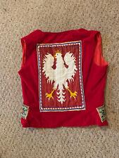 Vintage 70's Polish Flag Eagle Folk Ethnic Josephine Heritage Velvet Vest Xs/S