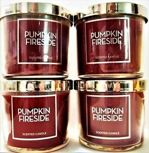 Bath Body Works PUMPKIN FIRESIDE Candles, 4 oz., NEW x 4