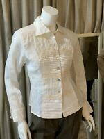 Ravel Vintage White Pleated Front Button Down Shirt Blouse Top Women's NWT