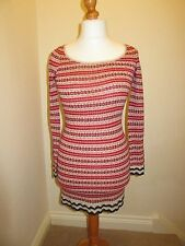 Ladies Long Sleeved Tunic Shift Dress - White Red Blue Crochet Detail Size 8