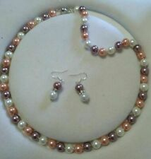 """8mm South Sea Multi-color Shell Pearl Necklace 18"""" AAA"""